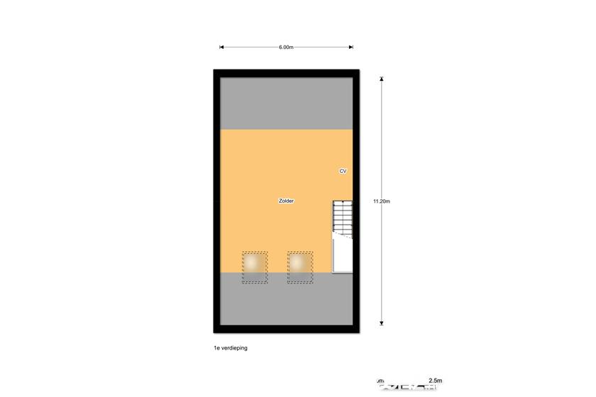 Plattegrond 1e etage tussenwoning De Cypressenhof