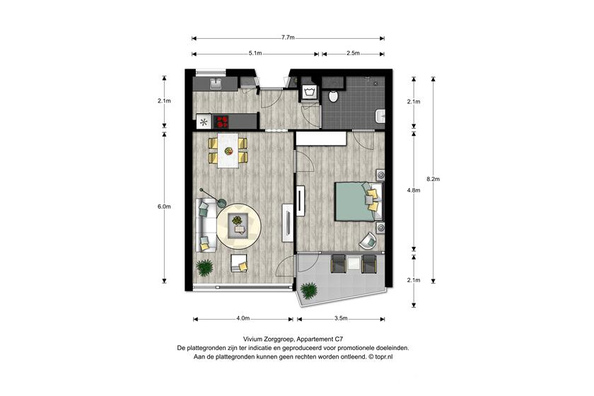 Vivium De Gooise Warande - 2 kamer appartement 55-56m² (C7)