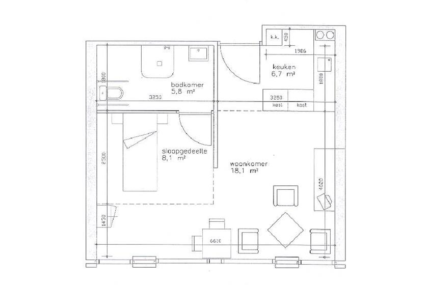 Plattegrond VZH 1 persoonsappartement