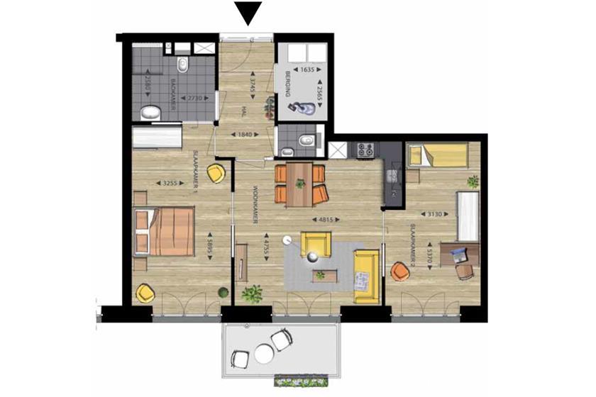 de Makroon plattegrond 3-kamerwoning