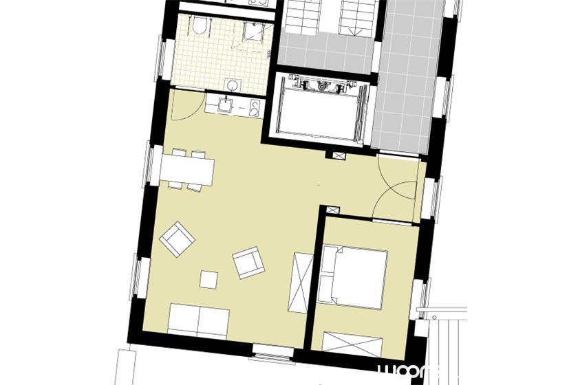 Het Seminarie - Plattegrond 2-kamer appartement