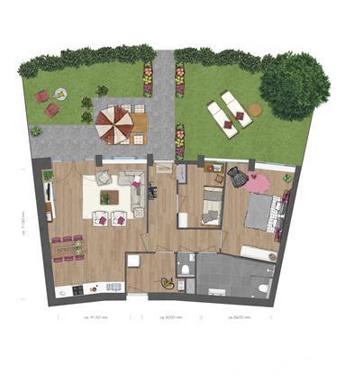 Full service appartement met een ruim terras