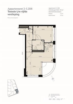 Hoekappartement met 2 kamers en zonnig balkon