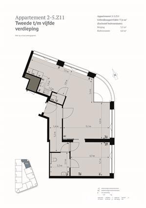 2-kamer appartement met grote woonkamer