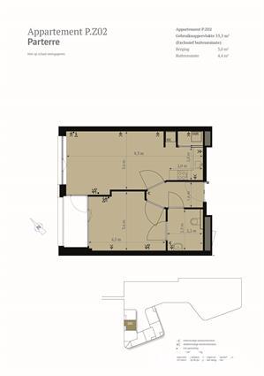 Mooi 2-kamer appartemt op de parterre