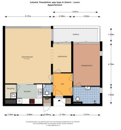 plattegrond appartement Theodotion