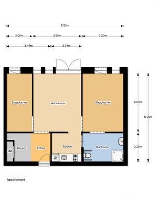Plattegrond WZC 3 kamer appartement