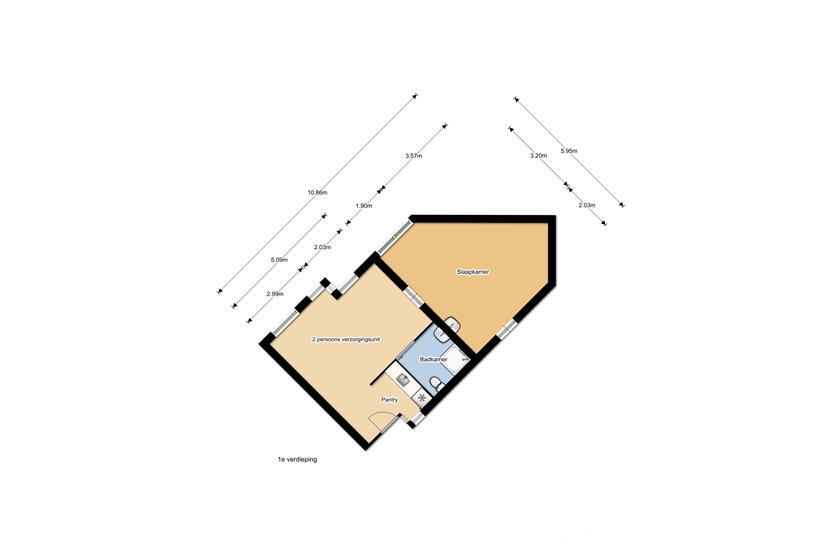 Plattegrond WZC en verhuur 1e etage type 1