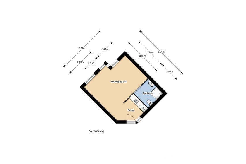 Plattegrond WZC en verhuur 1e etage