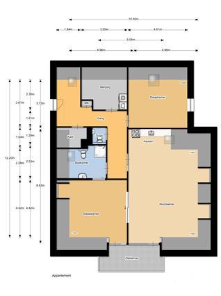 Plattegrond appartement WZC 3