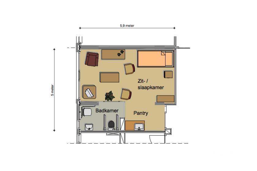 Voorbeeld indeling 1 kamer appartement de pannehoeve